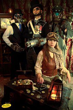Steampunk: Crew of the S.S. Beatrix - Engineer Hooper Jefferson, Captain Santiago Dunbar, Pilot Josie Devereux, and Crazed Hierophant Salazar Strega ----awesome!