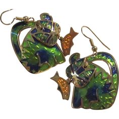 Rare Signed Edgar Berebi Enamel Articulated Cat Fish Figural Vintage Pierced Earrings