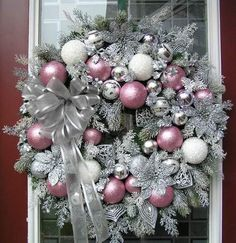 XL Cottage Shabby Chic Pink & Silver Christmas Wreath~~Q's Creations Designs