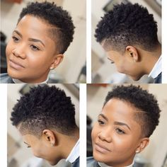 Black Hair Fade Haircut Black Female Contemporary 622 Best Tapered Cuts Shaved Sides Undercuts On Na Short Natural Haircuts, Short Natural Styles, Tapered Natural Hair, Pelo Natural, Natural Hair Styles For Black Women, Natural Hairstyles, Tapered Twa Hairstyles, Short Afro Hairstyles, Tapered Haircut