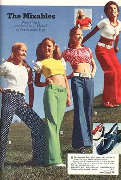 Women's Fashion on Sleek Chic - Sleek Chic - Women's Fashion on Sleek Chic a little bit more like I wouldn't have been caught dead in those pants! had shirts like the white one and the one on the right – a lot of belly baring went on that summer! 1974 Fashion, 70s Inspired Fashion, Seventies Fashion, 60s And 70s Fashion, Teen Fashion, Retro Fashion, Vintage Fashion, Womens Fashion, High Fashion