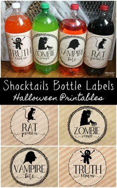 Adorable and Spooky Halloween Shocktails Bottle Labels. Free Halloween p. Adorable and Spooky Halloween Shocktails Bottle Labels. Couples Halloween, Soirée Halloween, Halloween Party Supplies, Halloween Food For Party, Halloween Birthday, Diy Halloween Decorations, Holidays Halloween, Halloween Drinks Kids, Halloween Bottle Labels