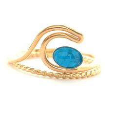 Bahama Blue Wave Ring Set Gold or Silver. Ocean Wave Ring.