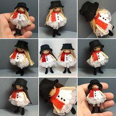 Handmade Waldorf inspired small bendable felt dolls by PNTdolls Felt Dolls, Plush Dolls, Doll Toys, Doll Crafts, Diy Doll, Christmas Craft Fair, Christmas Cross, Christmas Snowman, Clothes Pin Ornaments