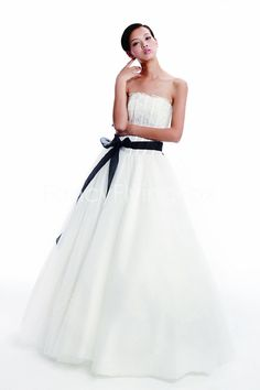 fancyflyingfox.com Offers High Quality Stunning Strapless Neckline Tulle Princess Wedding Dresses With Black Sash ,Priced At Only US$198.00 (Free Shipping)