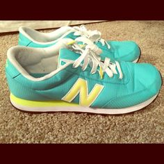 New Balance Sneakers Adorable turquoise and yellow new balance shoes! Purchased from Nordstrom! Worn but still in great condition! No tears or holes! New Balance Shoes Athletic Shoes