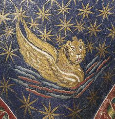Mausoleum of Galla Placidia - the winged lion, symbol of Mark the Evangelist, Ravenna, Italy, first half of the fifth century. .#Mosaic