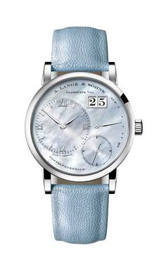 A. Lange & Söhne Little Lange 1, Reference: 113.043, Case: White gold, Dial: Solid silver, blue tint, faced with mother-of-pearl, calfskin strap Hands: Rhodiumed gold
