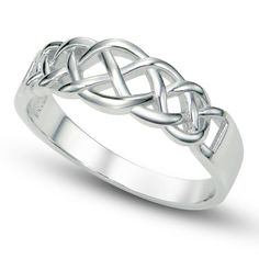925 Sterling Silver Celtic Knot Band Ring