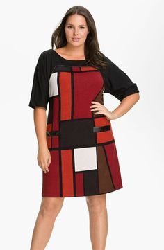 Donna Ricco 'City Blocks' Shift Dress (Plus)
