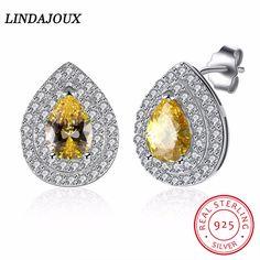 925 Sterling Silver Jewelry Water Drop Yellow Glowing Cubic Zirconia Earrings LINDAJOUX 925 for Women Fashion Earrings Women
