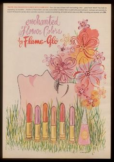 A Flame-Glo lipstick and nail polish ad from 1963