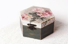 Almacenamiento de madera Decoupage caja joyería hecha a mano