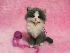 Needle Felted Gray & White Fluffy Kitten with a yarn ball: Miniature Wool Felt Cat