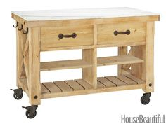 """Freestanding Kitchen Island - Hamilton - Reclaimed pine and marble, 52"""" W x 30"""" D x 36"""" H, $1,899. potterybarn.com."""