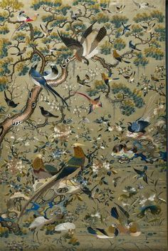 Chinese) Embroidered Panel 1700s-1800s Embroidery, silk and gold threadchinese painting 1700s - Google Search