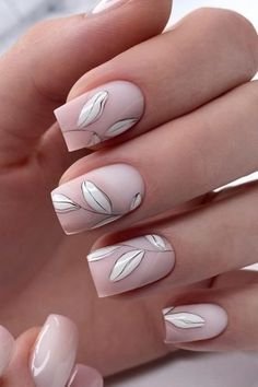 30 Cute Nail Design Ideas For Stylish Brides nail design wedding matte nude with white leaves rior_nails Chic Nails, Classy Nails, Stylish Nails, Simple Nails, Square Nail Designs, Cute Nail Designs, Beth Riesgraf, Sophisticated Nails, Short Square Nails
