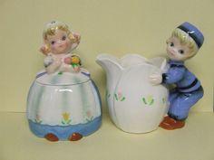 Vintage Lefton Dutch Boy & Girl Creamer & Sugar Set (ESD/Japan/#MR22073)