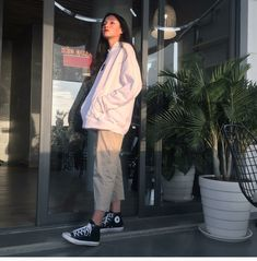 How often do you run across something fabulous, that influences your style? See something you love? Then, shop the pieces our editors are praising right now. Korean Outfits, Mode Outfits, Retro Outfits, Vintage Outfits, Girl Outfits, Casual Outfits, Fashion Outfits, Boyish Outfits, Korean Street Fashion