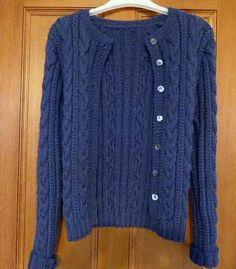 Quince Cardigan by Kim Hargreaves. Knitted in Rowan Super Fine Merino Aran in Dusk.