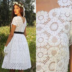 Vintage 50s cotton antique lace wedding formal cocktail dress
