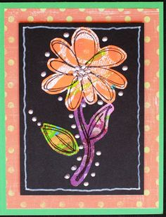 https://flic.kr/p/xnmNgU | Greeting Card - Scribble Flower 1 | Greeting card created with: - Green cardstock - Coordinating background paper - Black cardstock - Floral components created from various Gelli Plate prints - Embellished with Ranger Liquid Pearls - Stamp Credits:  Flowers & Leaves by Fiskars - Card measures 4.25 x 5.5
