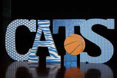 Kentucky Wildcats University of Kentucky sign Freestanding Wooden letters with basketball  - Wildcats Game room sign. $25.00, via Etsy.