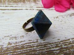 SKY / Raw Stone Natural Blue Lapis Lazuli Pyrite Crystal Pyramid Statement Cocktail Ring Adjustable Brass Band - SACRED GEOMETRY