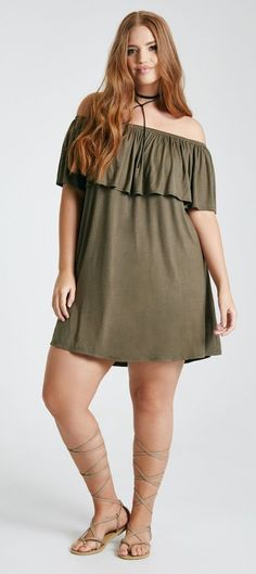 Your Curves, Your Style Dia&Co picks out fashion for you & delivers to your door. Sizes 14&up. Plus sized fashion picked just for you. Off the shoulder army green ruffle dress. SPRING & SUMMER FASHION TRENDS. (affiliate link)
