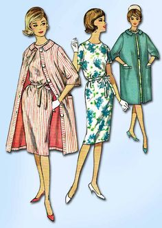1960s Vintage Simplicity Sewing Pattern 4359 Uncut Misses Dress & Coat Sz 31.5 B #Simplicity #DressandCoat