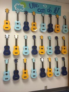 My Classroom Ukulele Storage- hung on the wall with tool hooks purchased from the hardware store. I painted the sign above to match my colors. Music Classroom, Future Classroom, Classroom Decor, Music Teachers, Classroom Organization, Classroom Walls, Classroom Design, School Classroom, Middle School Music