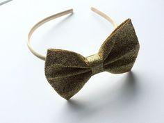 Gold Glitter Hair Bow Headband for Girls  by CuteAsaButtonbyAmy