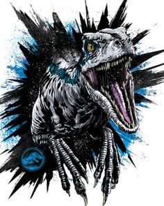 Anthony Petrie - Jurassic World: Fallen Kingdom Style Guide 2018 Jurassic World Poster, Blue Jurassic World, Jurassic Park Trilogy, Jurassic World Fallen Kingdom, Jurassic Park Tattoo, Jurrassic Park, Park Art, Dinosaur Tattoos, Dinosaur Art