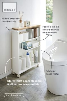 Rolling Slim Bathroom Cart With Handle Never run out! Store toilet paper, cleaners, and other bathro Bathroom Cart, Master Bathroom, Bathroom Ideas, Bathroom Essentials, Minimalist Bathroom, Bathroom Organization, Small Bathroom Storage, Bathroom Inspiration, Diy Furniture