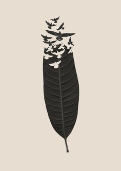 Leave Leaf Left Art Print - this along the hairline would be cute