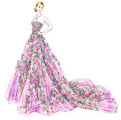 Cannes 2016: Elle Fanning in Zuhair Murad couture. Sunny Gu illustration