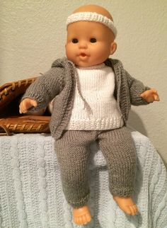 "Hoodie, sweatpants, long sleeved shirt and headband for 14"" baby doll http://www.ravelry.com/patterns/library/hoodie-sweats-and-top-for-14-baby-doll"