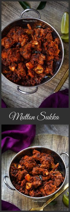 Mutton Sukka is a dry preparation in which the mutton is cooked in aromatic Indian spices.  It is then roasted with sautéed onions and other spices till you get dry, slightly crisp mutton pieces which at the same time will be tender.
