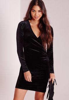 a6c3852565e Missguided - Robe portefeuille moulante en velours noir Tall Black Bodycon  Dress