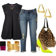 """""""Boyfriend Jeans + Neon Heels - Plus Size"""" by alexawebb on Polyvore"""