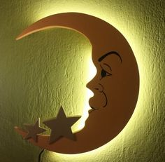 """Moon with Stars """"Luna"""" Minimalist Handmade Wooden Lamp Night light Nursery room LED lighting"""