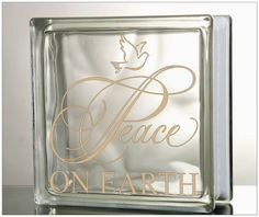 Peace On Earth Glass Block Decal Tile Mirrors DIY Decal for Christmas Glass Blocks Peace On Earth Diy Christmas Gifts, Christmas Holidays, Happy Holidays, Christmas Ideas, Xmas, Silhouette Cameo, Christmas Glass Blocks, Painted Glass Blocks, Brick Crafts