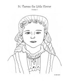 St. Therese as a little girl- Catholic coloring page