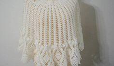 Beyaz bayan örgü şal modeli