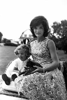 Jackie Kennedy and her daughter Caroline, with Tom Kitten, 1960, in Hyannis after the Democratic Convention.