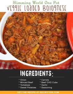 Slimming World One Pot Veggie Loaded Bolognese , - Diet Recipes Slimming World Speed Food, Slow Cooker Slimming World, Slimming World Diet Plan, Slimming Eats, Slow Cooker Recipes, Diet Recipes, Cooking Recipes, Healthy Recipes, Diet Tips
