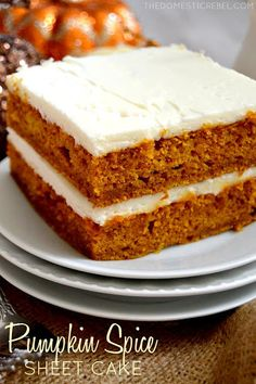 This Pumpkin Spice Sheet Cake is AMAZING! Moist, rich and packed with pumpkin flavor and topped with a cream cheese icing. Perfect for feeding a crowd! ~ The Domestic Rebel Fall Desserts, Delicious Desserts, Dessert Recipes, Pinterest Board, Spice Sheet, Pumpkin Sheet Cake, Pumpkin Dessert, Pumpkin Recipes, Let Them Eat Cake