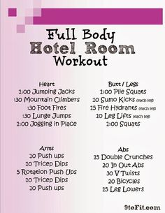 Full Body Hotel Room Workout