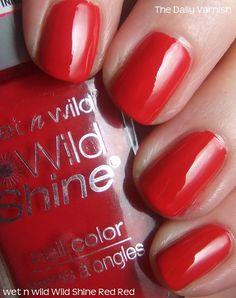 wet n wild Wild Shine Red Red nail polish. 99 cents and amazing Wet N Wild, Red Nail Polish, Nail Polishes, Dark Red Lips, Plaid Nails, Nail Polish Collection, Vegan Beauty, Fabulous Nails, Nail Tips