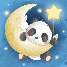 Cute panda and little bunny sitting in a. Cartoon Cartoon, Cute Cartoon Animals, Cute Animals, Wild Animals, Baby Animals, Cute Panda Wallpaper, Cartoon Wallpaper, Baby Animal Drawings, Cute Drawings